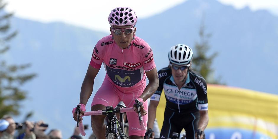 Nairo Quintana a Rigoberto Uran v cíli na Monte Zoncolanu.