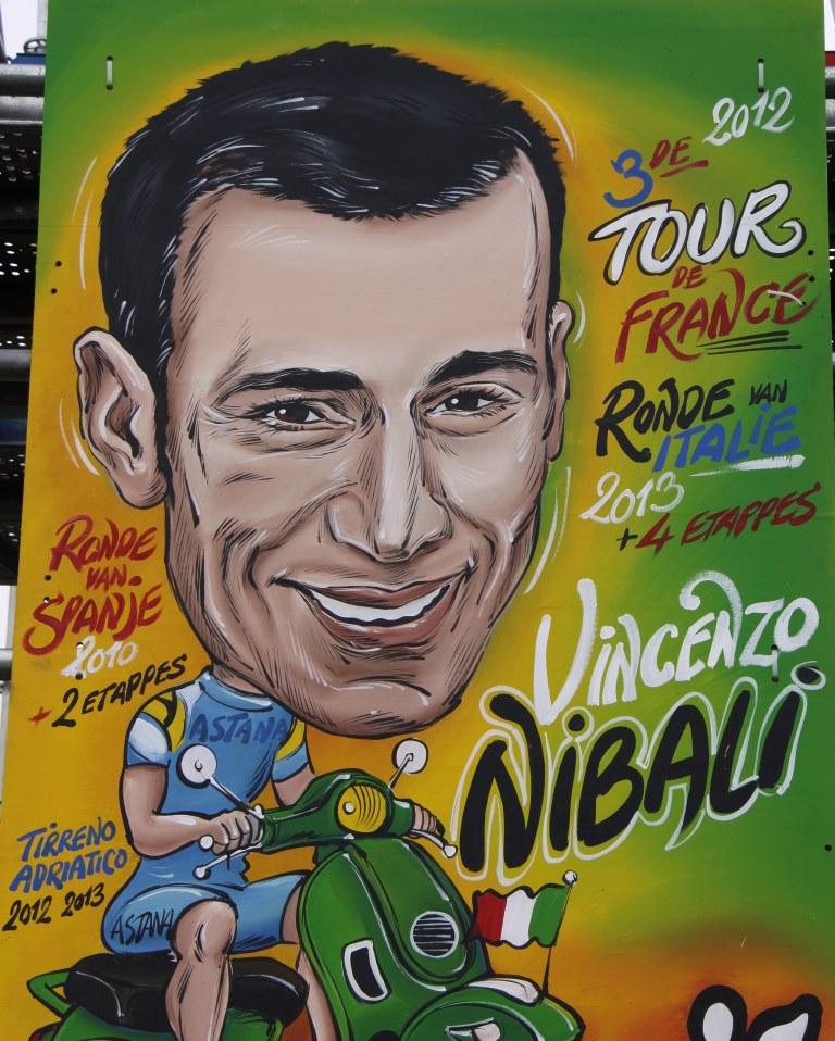 Vincezo Nibali na karikatuře.