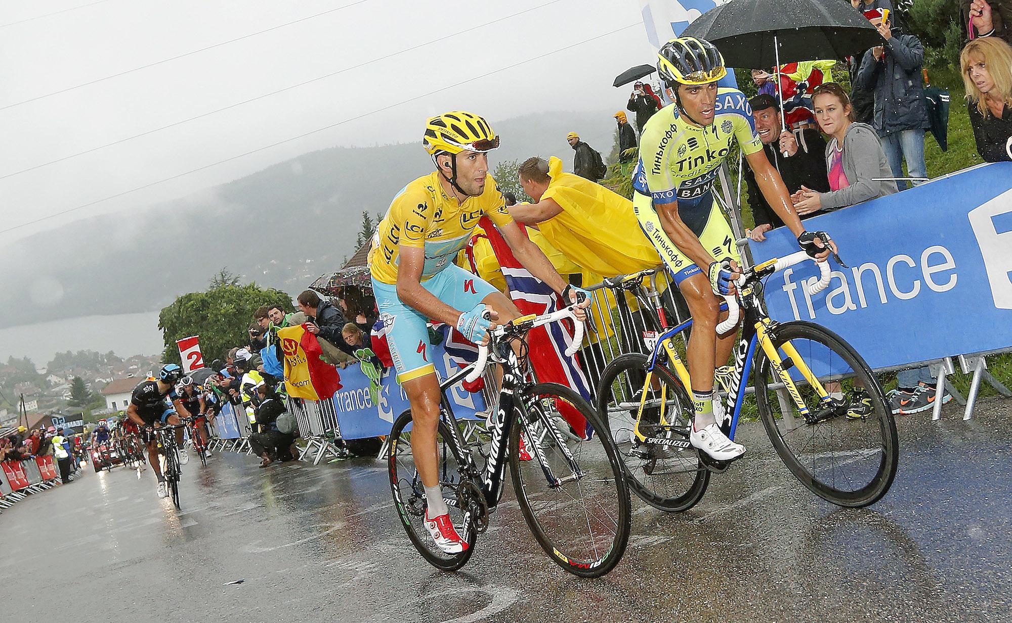 Nibali a Contador na letošní Tour.