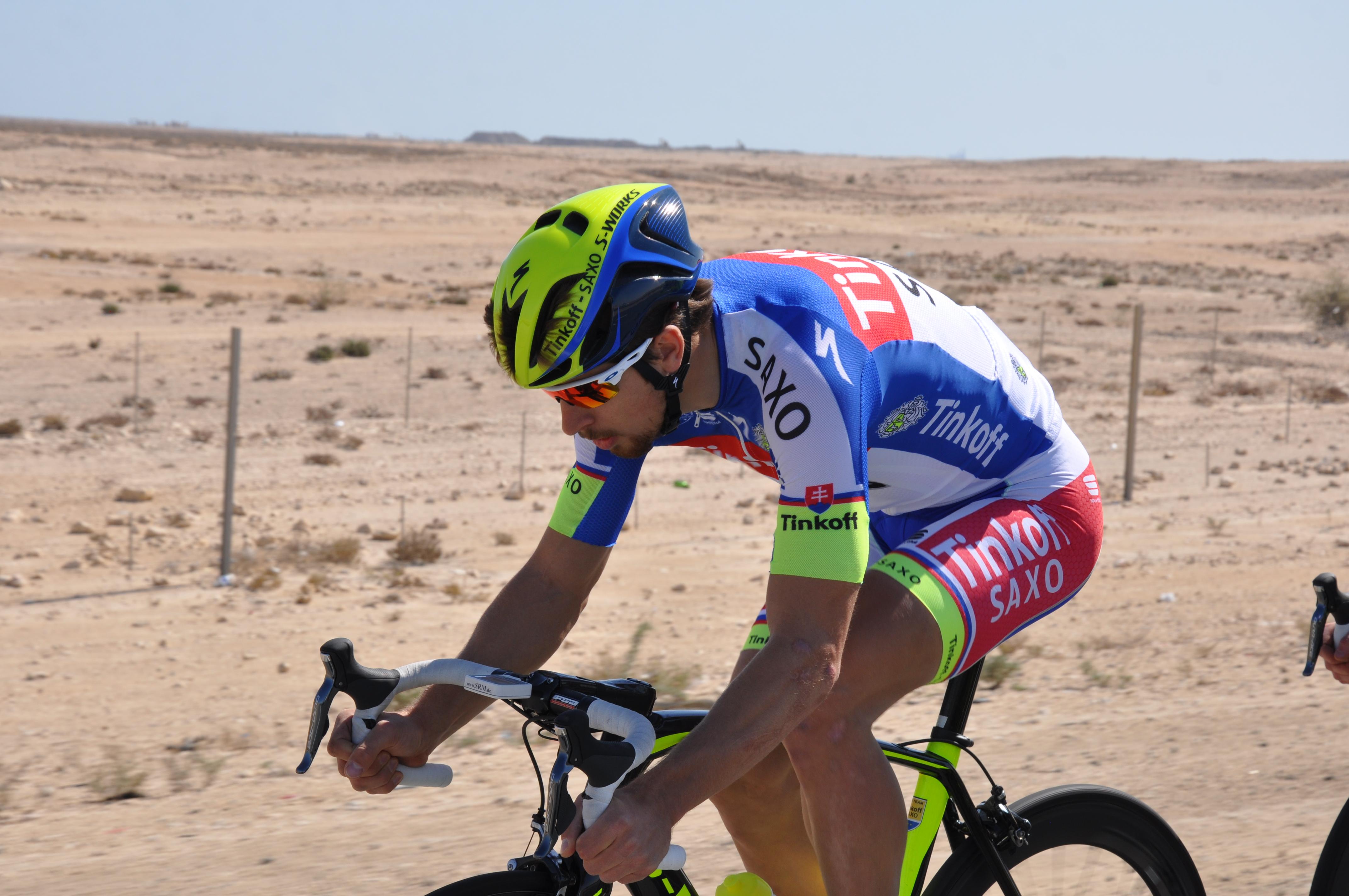 Peter Sagan na trati 1. etapy Tour of Qatar.