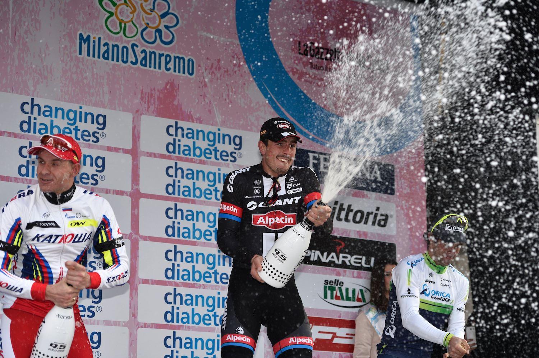 Stupně vítězů 106. ročníku Milano - San Remo.