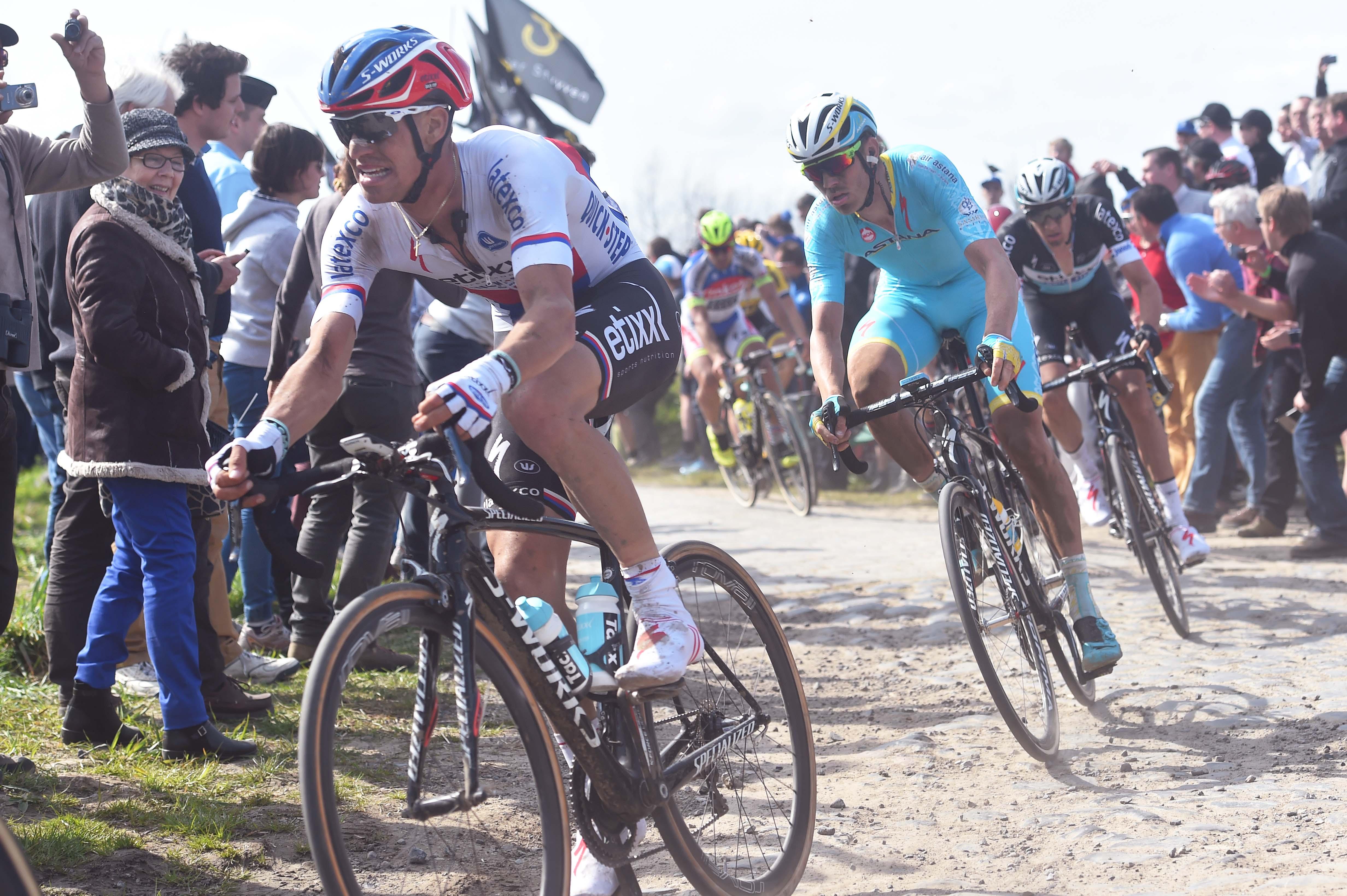 Zdeněk Štybar a Lars Boom - dva bývalí cyklokrosaři patřili k velkým postavám 113. ročníku Paříž - Roubaix.