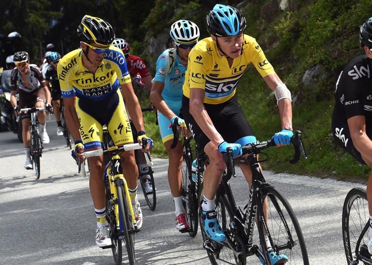 Chris Froome a Alberto Contador.
