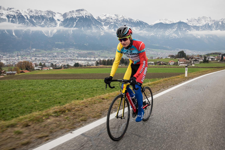 Karel Vacek junior při tréninku v Innsbrucku.
